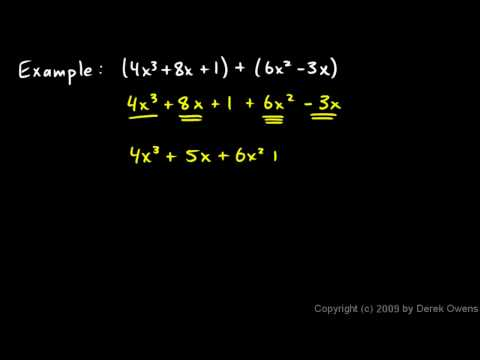 Prealgebra 10.2a - Adding and Subtracting Polynomials