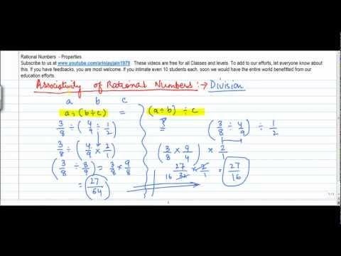 7. D - Mathematics   Class VIII   Properties of Rational No  Associativity of Division