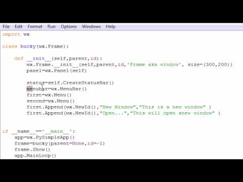 wxPython Programming Tutorial - 3 - Creating a Menu Bar