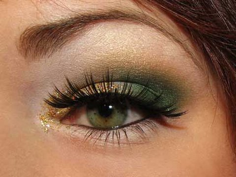 Christmas Green and Gold makeup