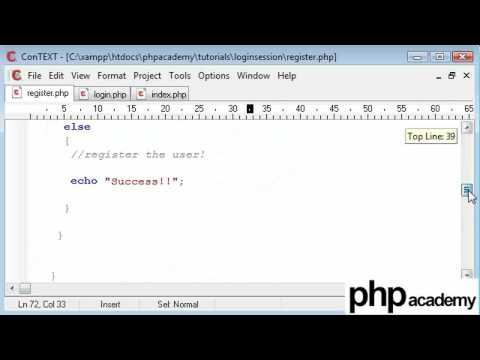 PHP Tutorials: Register & Login: User registration (Part 4)