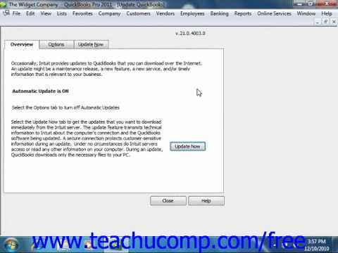 QuickBooks 2011 Tutorial Updating QuickBooks Intuit Training Lesson 26.4