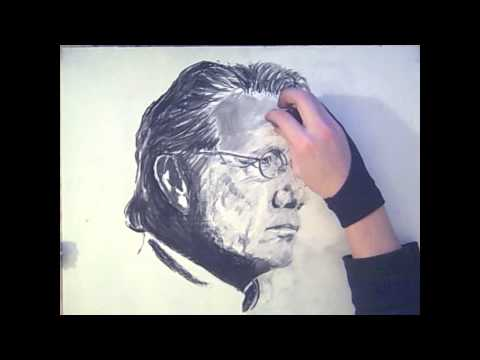 Charcoal Portrait Drawing - Adama/professor Gellar from BSG/Dexter