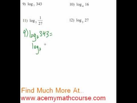Logarithms - Evaluating Logs (Finding the Value of Logs) #9