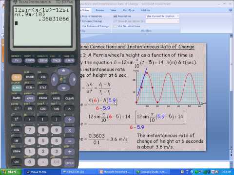 Making Connections and Instantaneous Rate of Change (Sinusoidal Functions)