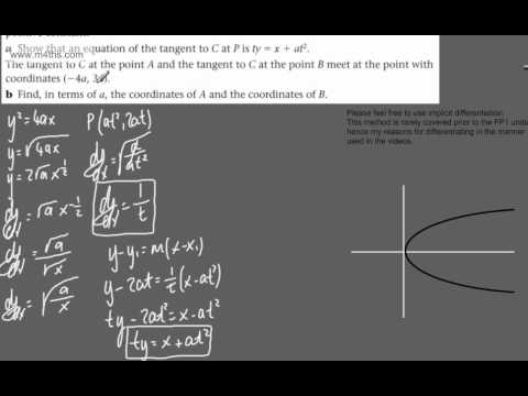 (24) FP1 - The Parabola and Hyperbola (finding points on a parabola given tangent)