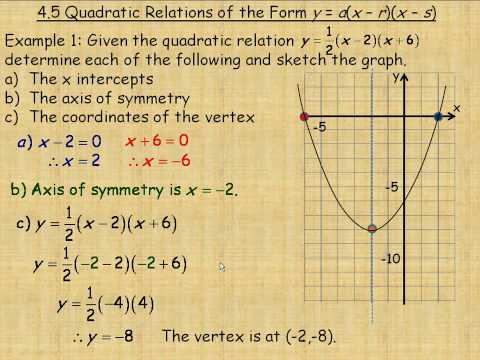 Quadratic Relations of the Form y = a(x  r)(x  s)