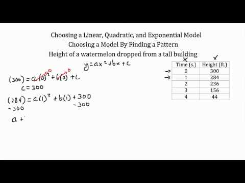Modeling- Linear Functions, Quadratic Functions, Exponential Functions PT 2
