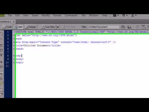 Dreamweaver CS4 Tutorial - 2 - Creating a New HTML File