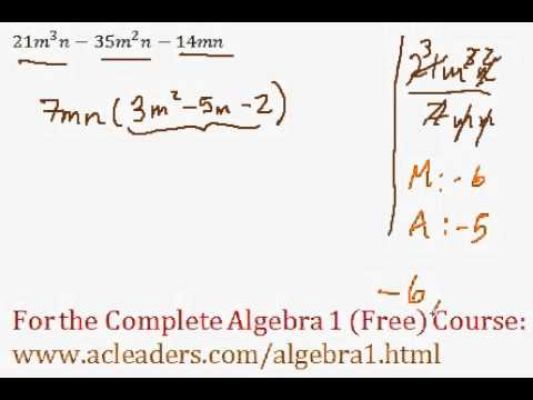 (Algebra 1) Polynomials - Factoring Polynomials Completely - Question #7