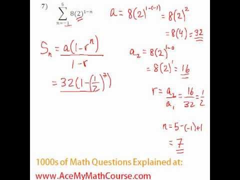 Geometric Series - Sigma Notation Question #7