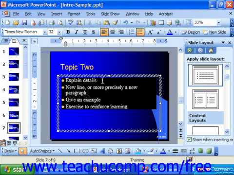 PowerPoint 2003 Tutorial Aligning Text with a Text Box or Placeholder Microsoft Training Lesson 7.6