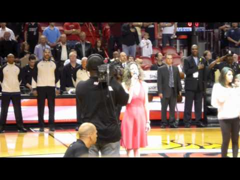 Patty Shukla sings National Anthem at NBA game