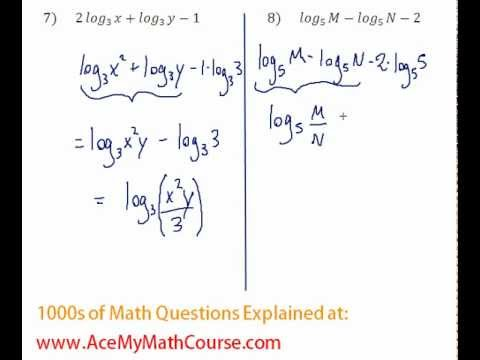 Logarithms - Compressing Log Expressions Question #8