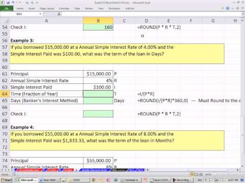 Excel 2010 Business Math 78: Simple Interest Solve For Time