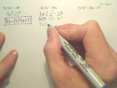 5.4b Factoring Quadratic Expressions - Algebra 2