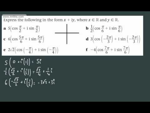 (3) FP2 Complex Numbers (Polar form to cartesian form) Further Maths Edexcel