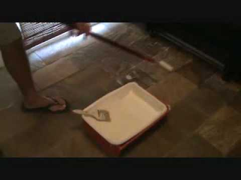 "Installing floor sealer to a stone floor: with a ""roller"""