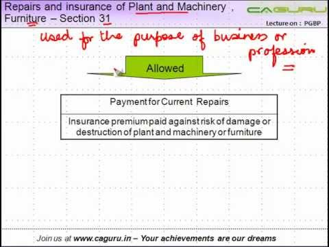 CA IPCC PGBP 17    Repairs and insurance of Plant and Machinery , Furniture    Section 31