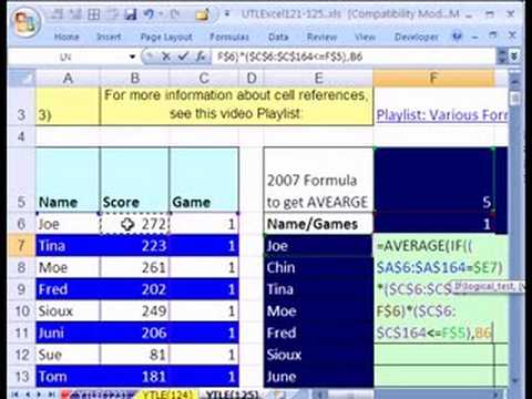 YTL Excel #125: Array Formula w IF & AVERAGE functions