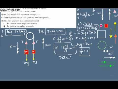 (8) Dynamics Overview -  M1 Mechanics Revision - Pulley - connected particles problem