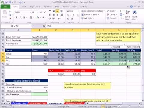 Excel 2010 Business Math 12: Adding and Subtracting In Excel