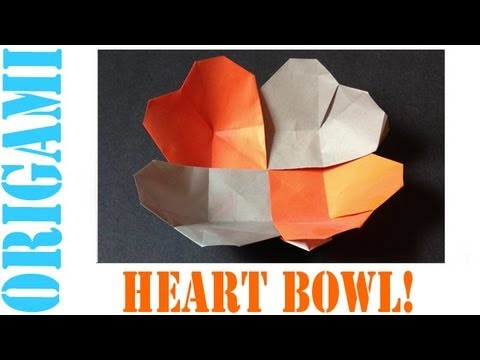 Origami Daily - 186: Heart Bowl (Valentine's Day Dish) - TCGames [HD]