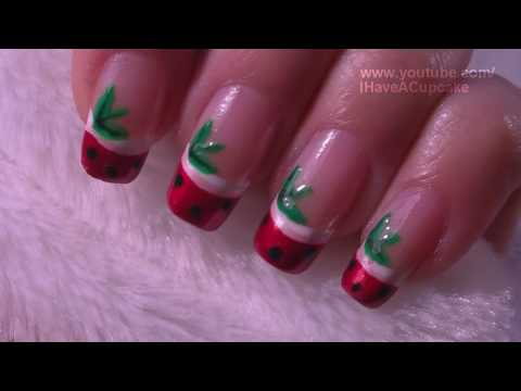 Strawberry French Tip Fruit Nail Art Tutorial / Arte para las uñas de fresa estilo punta frances
