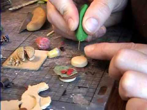 Hamburger How to Make from Polymer Clay a miniature dollhouse food. By Garden of Imagination