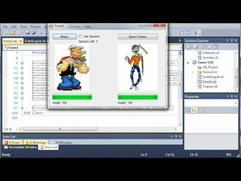 Visual Basic Tutorial - 159 - Game Part 15   Adding Events To The Log