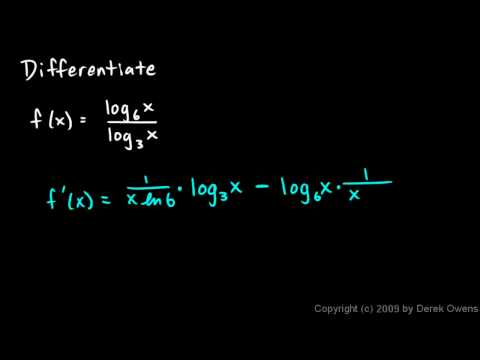 Calculus 6.3d - Derivatives of Base b Logarithms