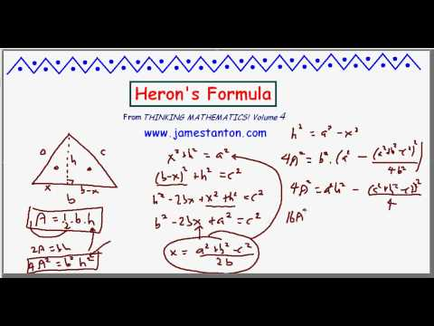 Heron's Formula for the Area of a Triangle (TANTON Mathematics)