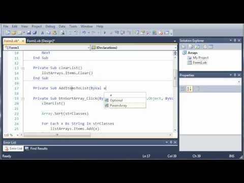 Visual Basic Tutorial - 62 - Passing Arrays As Parameters