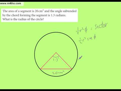 C2 exam question - Finding radius given Area of Segment