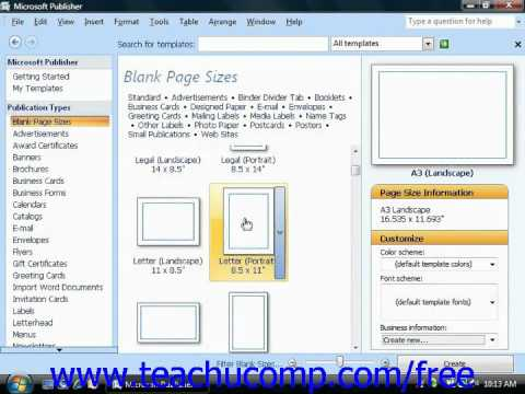 Publisher 2003 Tutorial Creating a Blank Publication 2007 Microsoft Training Lesson 1.5