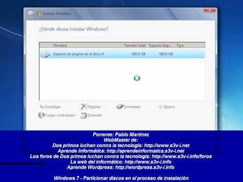 Particionar discos en la instalación de Windows 7