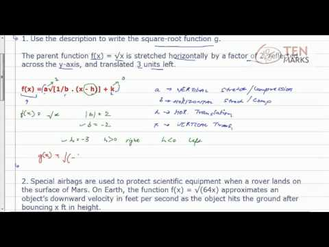 Write Transformed Square Root Function