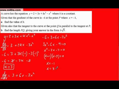 (y) Core 1 Differentiation (Harder C1 exam question 5 distance between tangents)