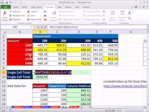 Excel Magic Trick 811:Multiple Two Way Lookup Adding INDIRECT, ADDRESS & Array MATCH Function