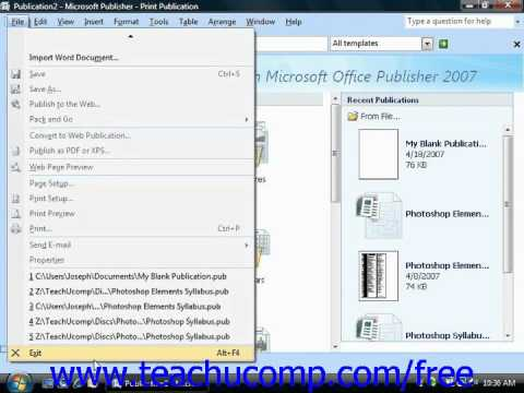 Publisher 2003 Tutorial Exiting Publisher Microsoft Training Lesson 1.17