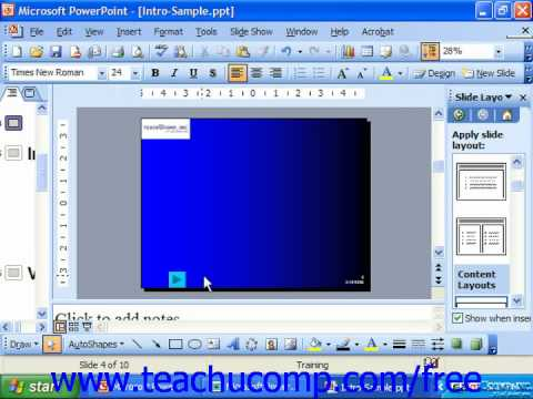 PowerPoint 2003 Tutorial Inserting Action Buttons Microsoft Training Lesson 27.1