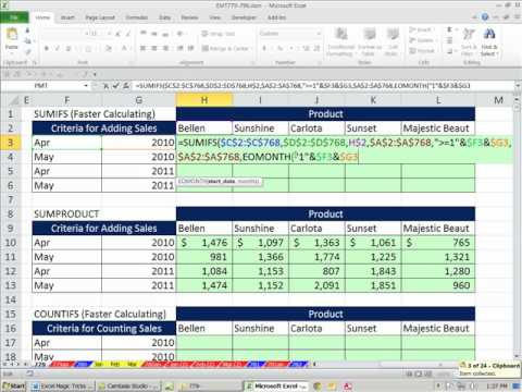 "Excel Magic Trick 779: SUMIFS Faster Than SUMPRODUCT & TEXT When Using ""Jan"" Month Criteria"