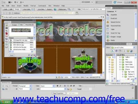 Dreamweaver CS5 Tutorial Site Assets Adobe Training Lesson 12.1
