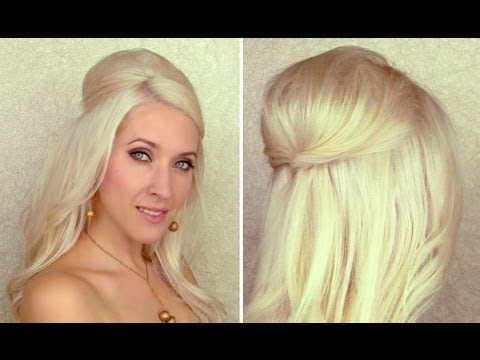 Half updo with curls and bump/poof with hidden bobby pins Hair tutorial with extensions