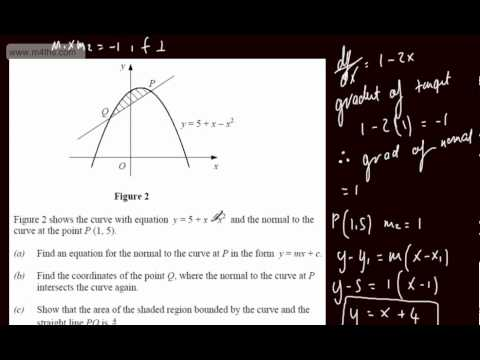 (q8) C2 Exam Practice 4 - LAST MINUTE REVISION ONLY - area between curve and line