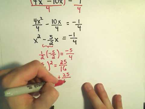 Completing the Square to Solve Quadratic Equations: More Examples - 4