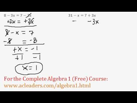 Equations - Variables on Both Sides (Algebra Review)