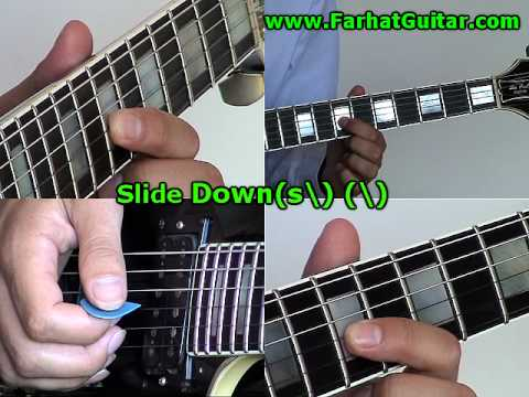 How to Read Guitar Tabs - Slide Down  (s\) www.FarhatGuitar.com