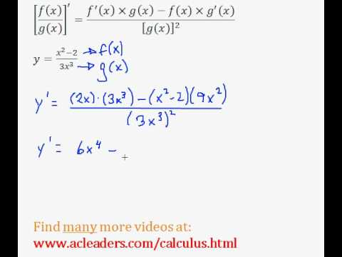 Quotient Rule - Finding the Derivative (Calculus) - (pt. 2)