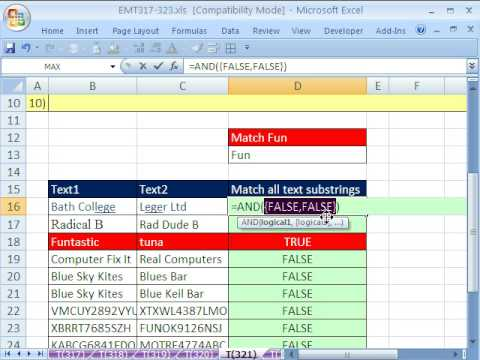 Excel Magic Trick 321: Match Text Substrings